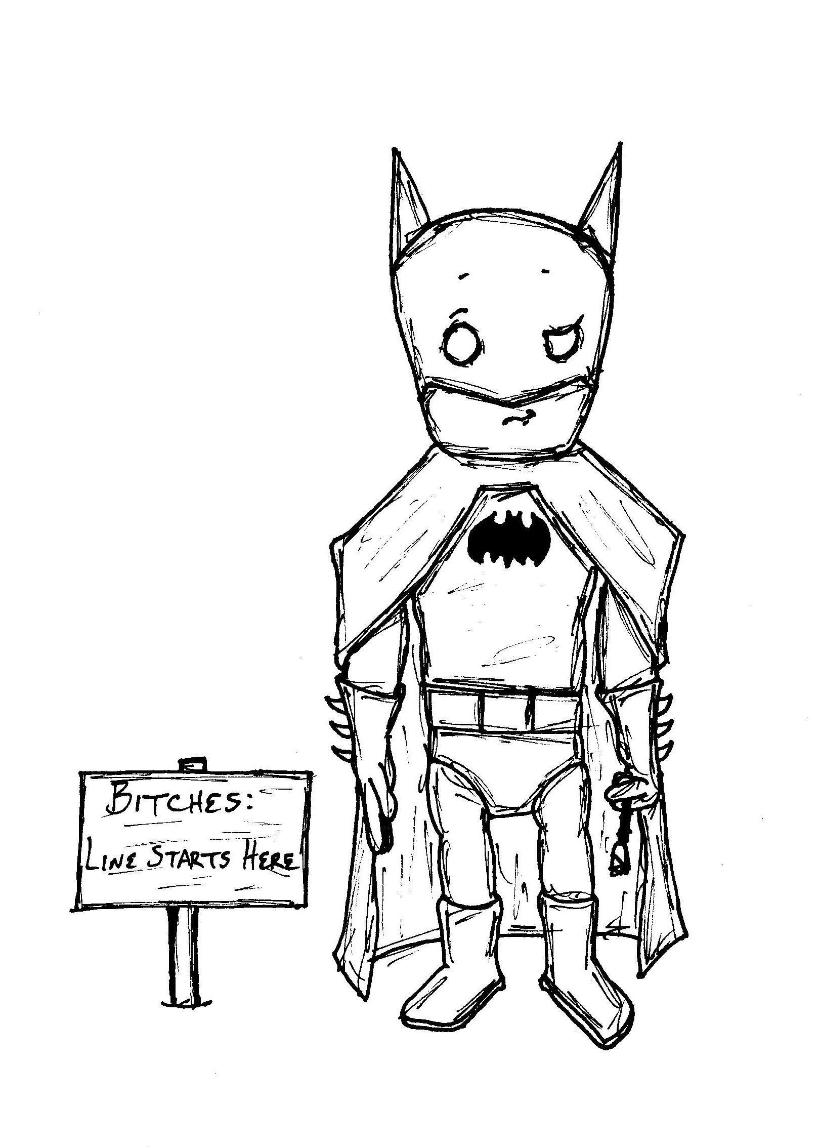 "Sketch from the poem ""I Wish That I Was Batman (For He Gets All the Bitches)"""